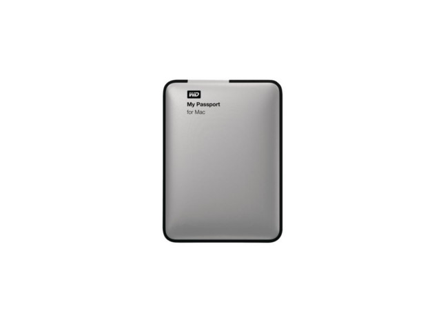 A gray external harddrive with 'My passport' and 'for Mac' written on it